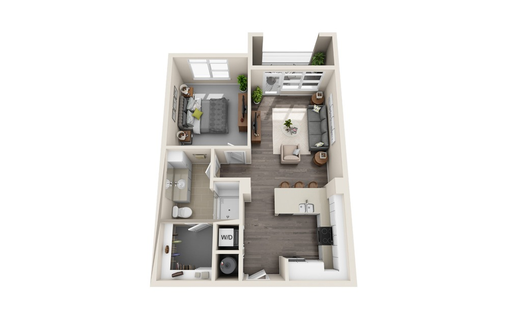 A1 - 1 bedroom floorplan layout with 1 bath and 724 square feet.