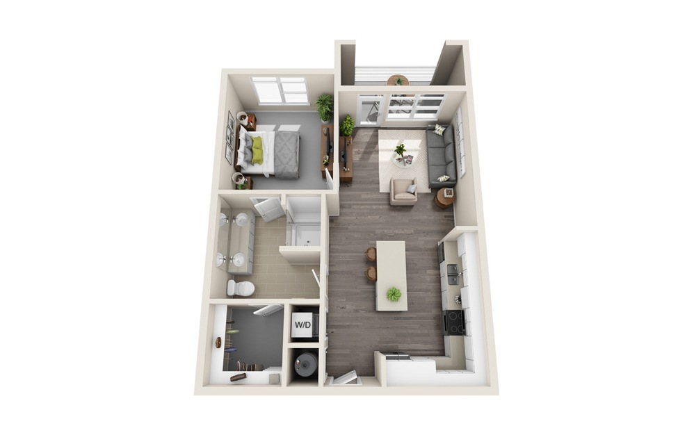 A2 - 1 bedroom floorplan layout with 1 bath and 770 square feet.
