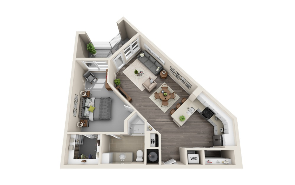 A3 - 1 bedroom floorplan layout with 1 bath and 835 square feet.