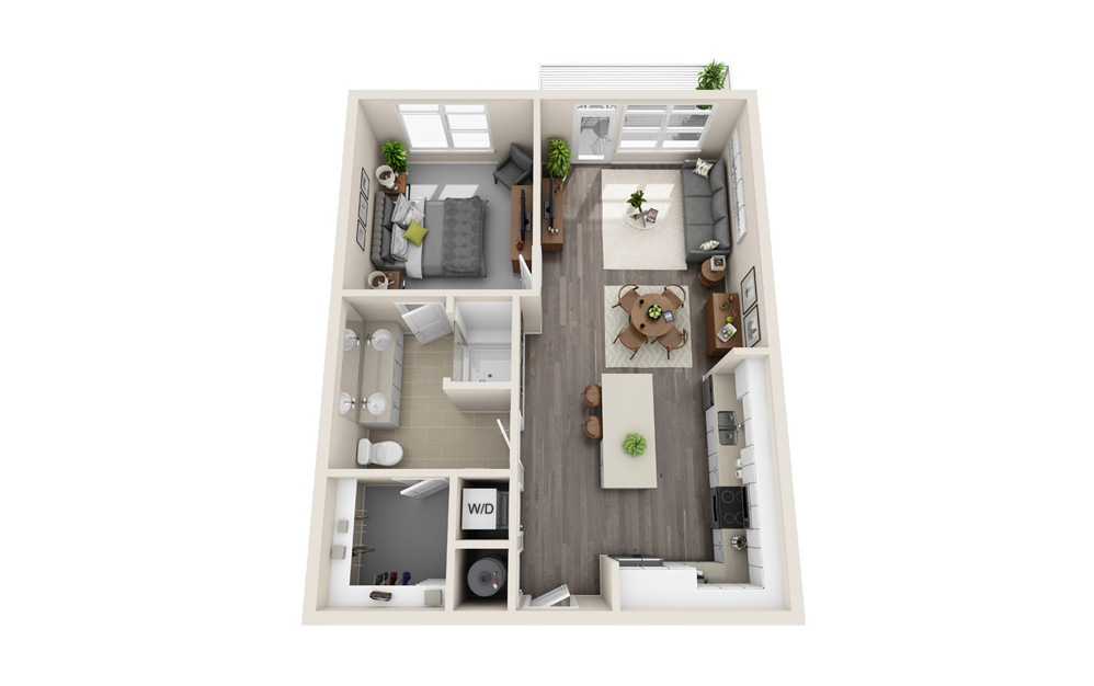 A4 - 1 bedroom floorplan layout with 1 bath and 798 square feet.
