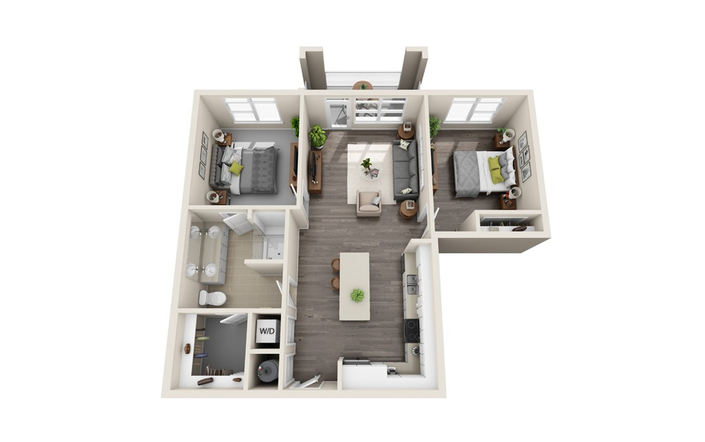 A4-D - 1 bedroom floorplan layout with 1 bath and 979 square feet.
