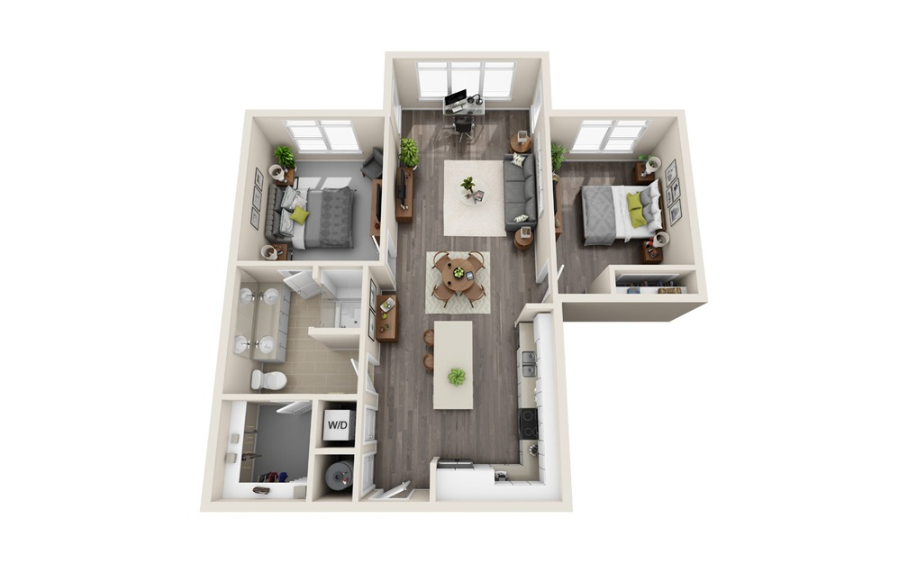 A4-DS - 2 bedroom floorplan layout with 1 bath and 1058 square feet.