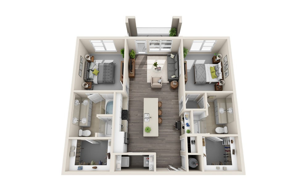 B1 - 2 bedroom floorplan layout with 2 baths and 1153 square feet.