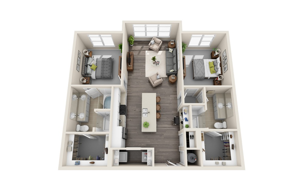 B1.X - 2 bedroom floorplan layout with 2 baths and 1195 square feet.