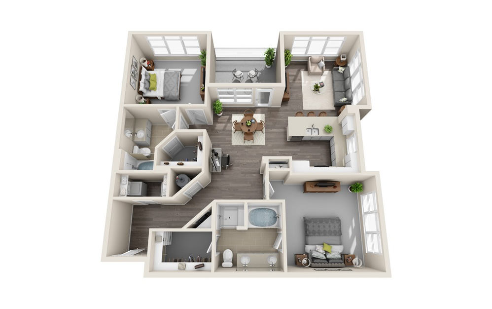 B2 - 2 bedroom floorplan layout with 2 baths and 1353 square feet.