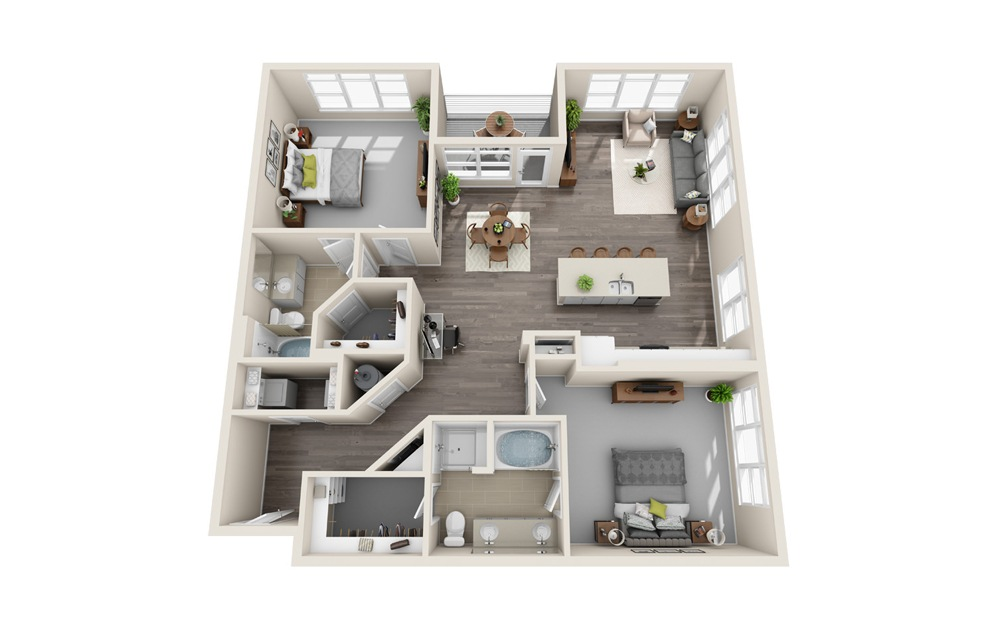 B2.3B - 2 bedroom floorplan layout with 2 baths and 1532 square feet.
