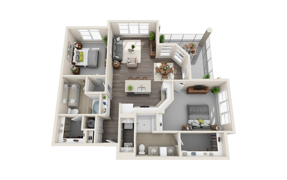 B3 - 2 bedroom floorplan layout with 2 baths and 1249 square feet.