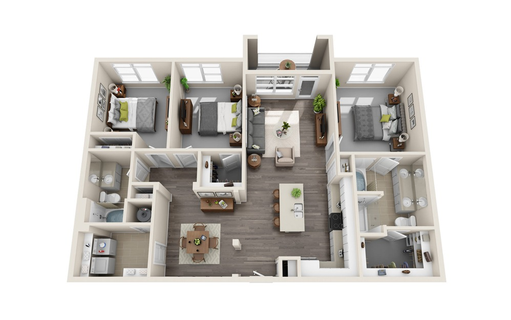 C1 - 3 bedroom floorplan layout with 2 baths and 1440 square feet.