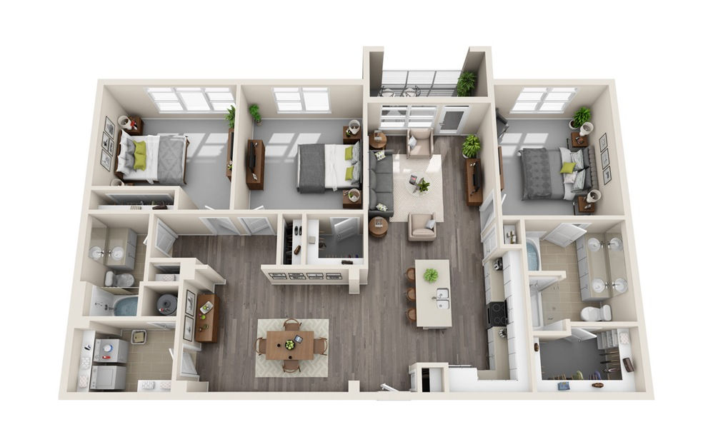 C2 - 3 bedroom floorplan layout with 2 baths and 1612 square feet.