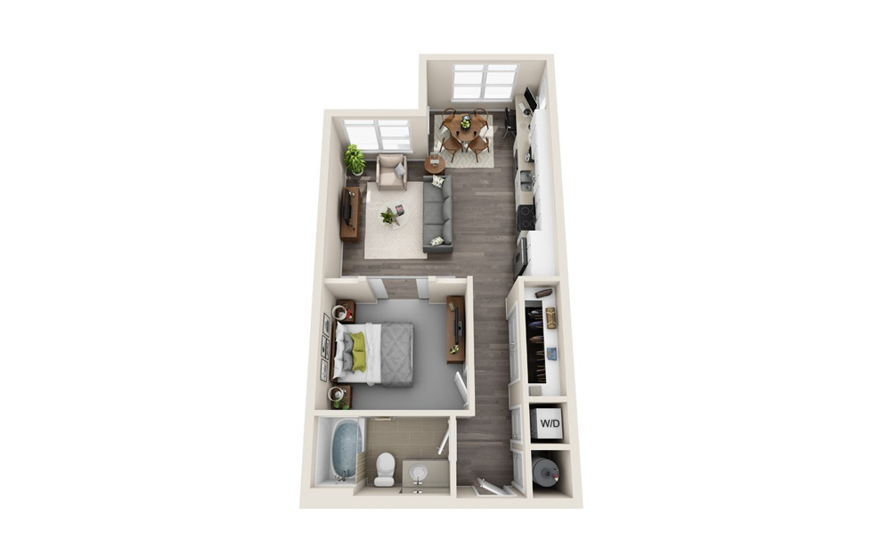 S1-S - Studio floorplan layout with 1 bath and 608 to 678 square feet.