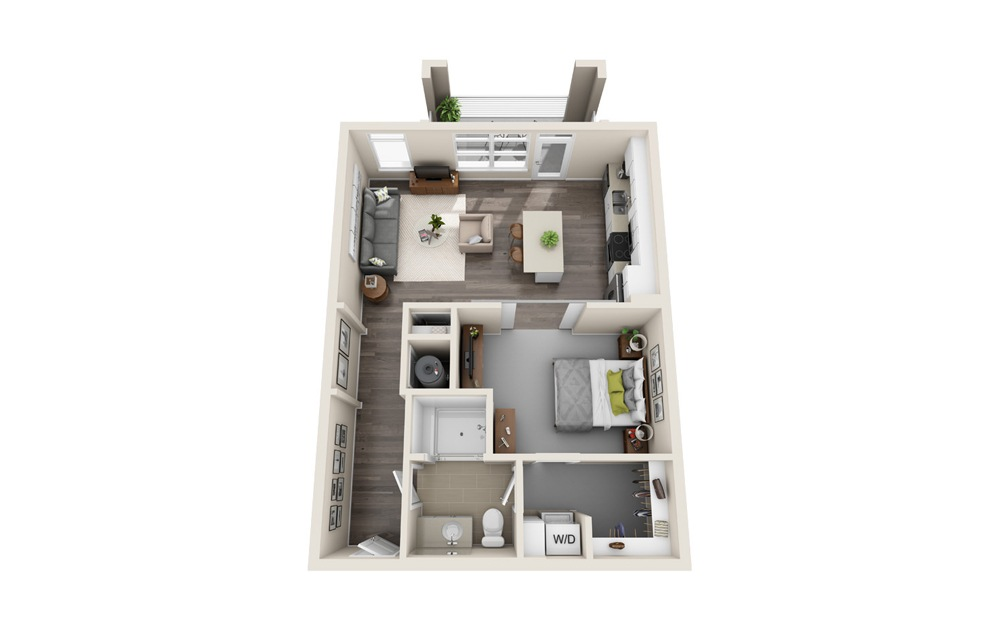 S2 - Studio floorplan layout with 1 bath and 730 square feet.