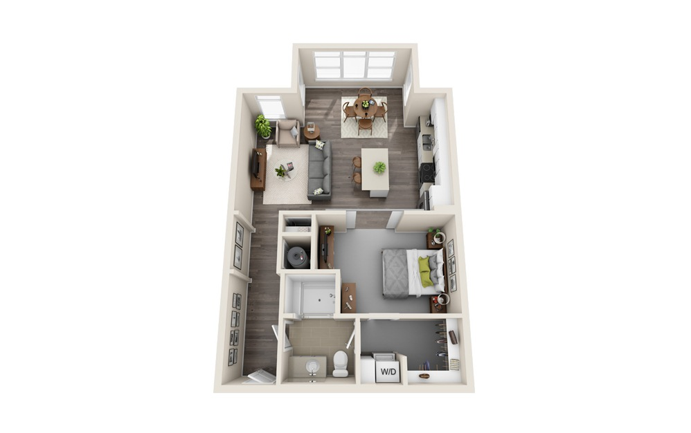 S2-S - Studio floorplan layout with 1 bath and 809 square feet.