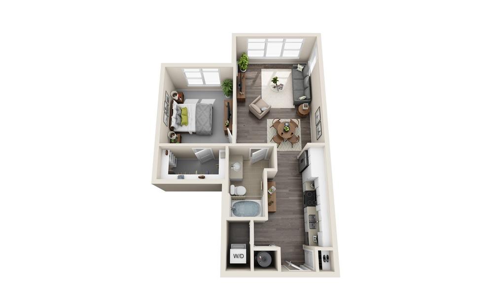 S3 - Studio floorplan layout with 1 bath and 739 square feet.